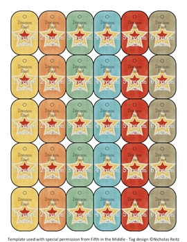 Division Facts Brag Tags - Division Star! 0-12 Tables