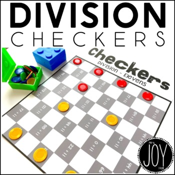 Division Facts Checkers Game for Math Centers and Math Stations