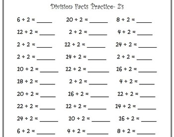 Division Facts Drills Pack