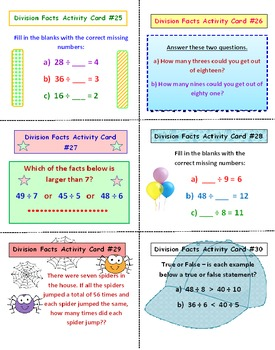 Division Facts FREE Activity Cards PREVIEW
