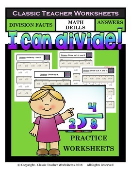 Division Facts-Facts to 10-Math Drills Worksheets-Grades 2-4 (2nd-4th Grade)