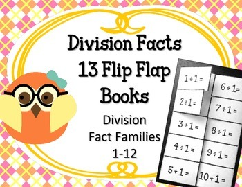 Division Facts Flip Flap Books.Math Interactive Notebooks.Math Center 0-12