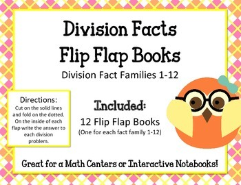 Division Facts Flip Flap Books.Math Interactive Notebooks.Math Center 0-12