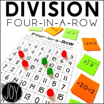 Division Facts Four in a Row Game for Math Centers or Math Stations