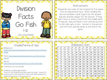 Division Facts Go Fish Card Game (TEKS 3.4F)