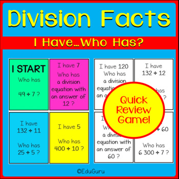 Division Facts I Have Who Has GAME