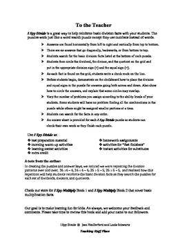 I Spy Divide   Practice Division Facts  Puzzles | FUN NO PREP  Gr 3 CORE MATH