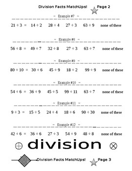 Division Facts Match Ups PLUS Division Facts Small, Medium, Large (6 Worksheets)