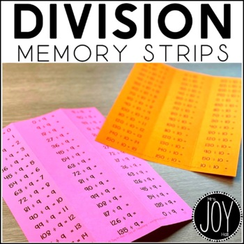 Division Facts Memory Strips - Separated by Number Sets