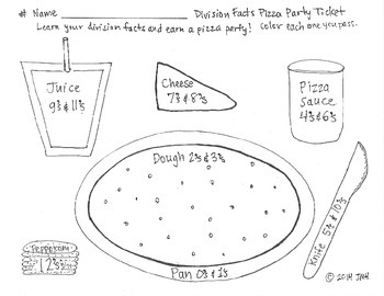 Division Facts Pizza Party Ticket