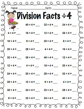 Division Facts Practice: ÷1 through ÷12