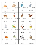 Division Facts Puzzle Matching Cards with Animals