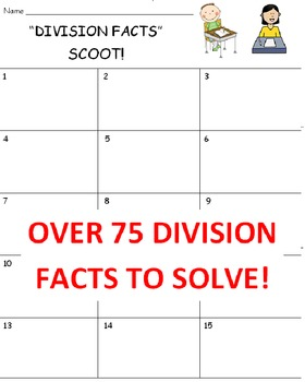 Division Facts SCOOT Game (Cards, Grid and Lesson Plan)