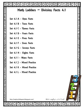 FREEBIE Division Facts - Set 4.1 {Math Ladders}