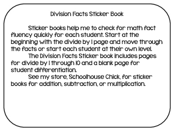 Division Facts Sticker Book