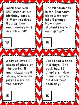 Division Facts Story Problems - 24 Task Cards for Math Centers and Activities