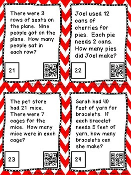 Division Facts Story Problems - 24 Task Cards with QR Codes