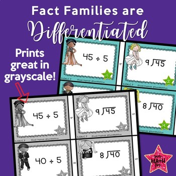 Division Facts - Task Cards - Hollywood Theme - Self-Checking