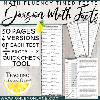 Division Timed Test facts (1-12) {Includes Quick Check Too