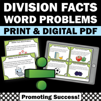 Division Word Problems Task Cards, 3rd Grade Math Centers & Games