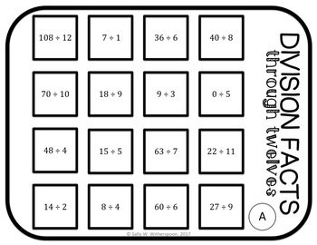Division Facts through 12's Number Sort, Matching Game- Includes 10 Versions!