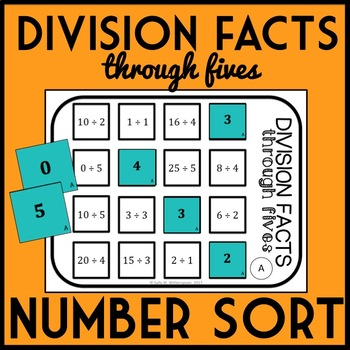 Division Facts through 5's Number Sort, Matching Game- Includes 10 Versions!