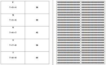 Division Facts to 100 Memory Match Game (Division Facts 1-10)