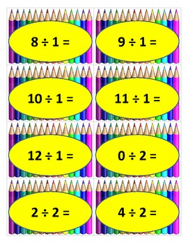 Division Facts with Bam Cards