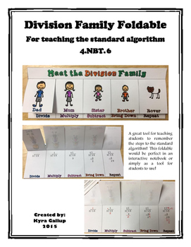 Division Family Foldable for Long Division