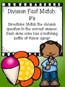 Division File Folder Game- 9's