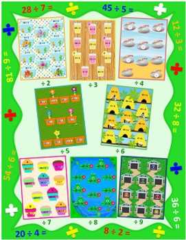 Division File Folder Games Bundle (8 Games, Quotients 0-10)