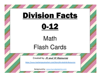 Division Flash Cards: 0-12