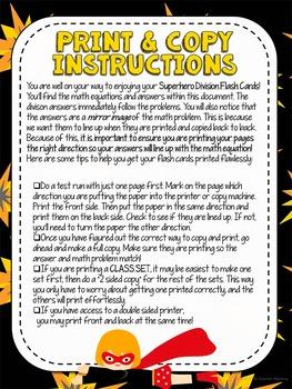 Division Flash Cards Superhero