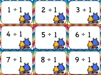 Division Flash Cards and Certificates - Monsters with Chevron Background