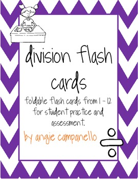 Division Flash Cards from 1 - 12