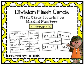 Division Flash Cards with Missing Numbers - Math Flash Cards