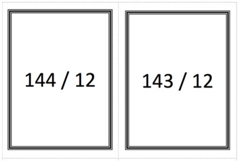 Division Flash Cards with Reminders 12s
