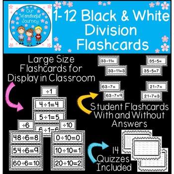 Division Flashcards (Black & White)