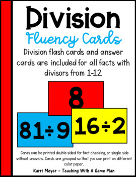 Division Fluency Cards