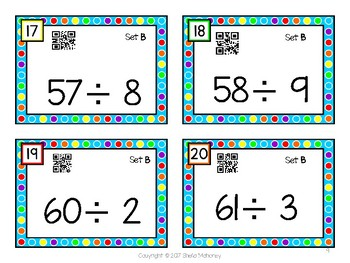 Division Fluency Flashcards with QR Codes-Set B