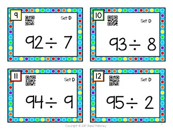 Division Fluency Flashcards with QR Codes-Set D