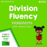 Division Fluency Test Sheets, Long Division Practice Problems Worksheets