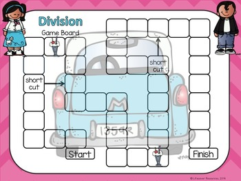 Division Game Repeated Subtraction and Picture Models and Printables