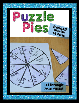 Division Games or Math Centers or Stations with Facts 1-6 | Puzzle Pies {PP}