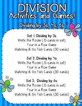 Division Games/Activities (Divide by 3, 4, & 6)