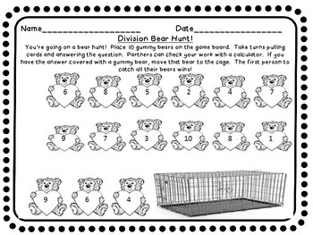 Division Gummy Bear Hunt Center Game Game!  Basic Facts Partner Whole Group