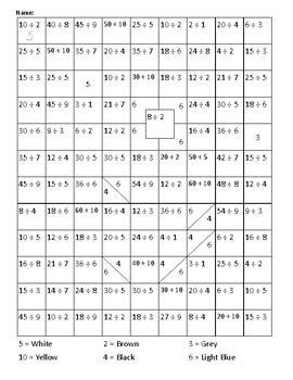 Hidden Picture Snowman - Division - Math Facts