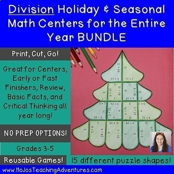 Division Holiday & Seasonal Math Centers for the Entire Year BUNDLE