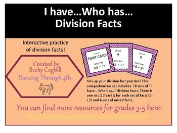 Division Facts I have...Who has...Full Set
