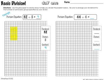 Division & Interpeting Remainders (basic division practice pack)